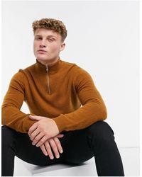 ASOS Lambswool Half Zip Sweater - Brown