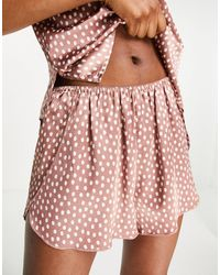 Abercrombie & Fitch Polka Dot Sleep Short Co-ord - Brown