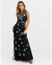 A Star Is Born Star Embellished Maxi Dress-multi - Black