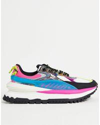 Bershka Sneakers con plateau e suola spessa colorblock - Blu