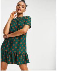 AX Paris Drop Hem Smock Dress - Green