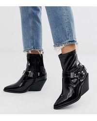 ASOS - Ritchie - Lakleren Western Sock Boots - Lyst
