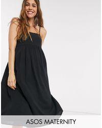 ASOS Asos Design Maternity Cami Midi Tiered Crinkle Sundress - Black