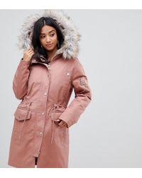 8ee50274155 Asos Design Petite Parka With Detachable Faux Fur Liner - Pink