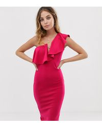 Missguided One Shoulder Plunge Midi Dress With Frill Trim In Hot Pink