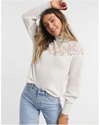 Morgan Long-sleeved Top With Lace Detail - White