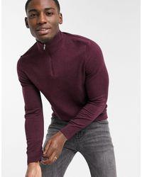 Burton Бордовый Джемпер Из Органического Хлопка С Короткой Молнией -красный - Пурпурный