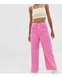 Reclaimed (vintage) The '93 Wide Leg Cord Jeans In Bright Pink