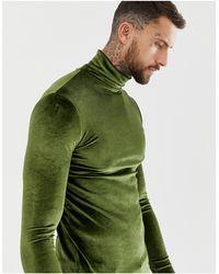 ASOS - Camiseta ajustada y elástica de manga larga en velour con cuello vuelto en caqui - Lyst