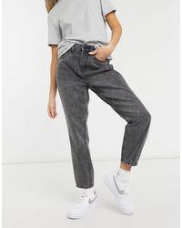 Noisy May Isabel - Mom jeans rigidi lavaggio grigio scuro