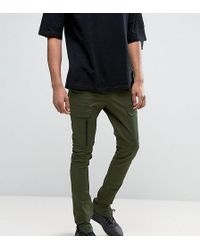 ASOS Asos Tall Super Skinny Fit Trousers With Zip Cargo Pockets In Khaki - Green
