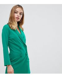 John Zack - Tuxedo Mini Dress In Green - Lyst