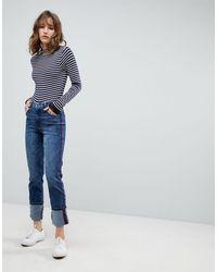 Esprit Contrast Stripe Straight Leg Jeans - Blue