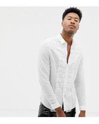 ASOS - Plus Skinny Fit Shirt With Fringed Front In White - Lyst