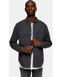 TOPMAN Herringbone Overshirt - Grey