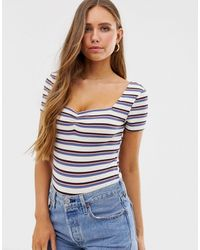 Glamorous Body With Ruched Front In Retro Stripe - Blue
