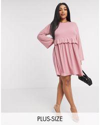 Boohoo – Gesmoktes Kleid mit Rüschen - Pink