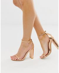 Glamorous Rose Gold Barely There Square Toe Block Heeled Sandals - Multicolour