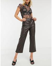 ONLY Pantalon imitation cuir - Marron