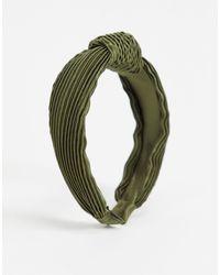 ASOS Serre-tête noué et plissé en satin - Kaki - Vert