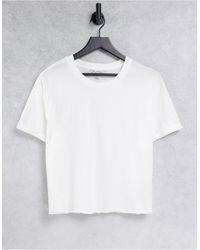Miss Selfridge T-shirt à manches courtes retroussées en coton biologique - Blanc