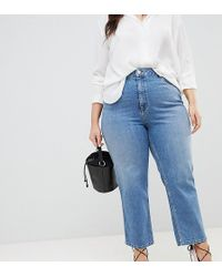 ASOS Asos Design Curve Farleigh High Waist Straight Leg Jeans In Stone Wash Blue