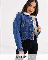 ASOS Синяя Джинсовая Куртка С Подкладкой Из Искусственного Меха - Синий
