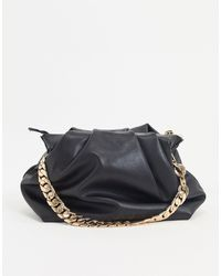 Mango Oversized Ruched Bag With Gold Chain Strap Black