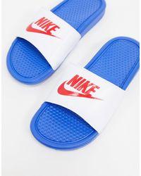 Nike Шлепанцы Белого/синего Цвета Benassi Jdi-белый - Синий