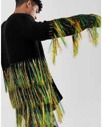 ASOS Knitted Oversized Cardigan With Neon Tassels - Black