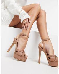 ALDO Lacla Strappy Platform Heeled Sandal - Natural