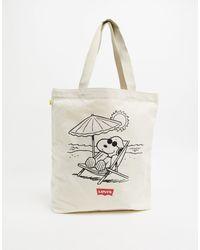 Levi's Levis Peanut Snoopy Beach Tote Bag - Natural