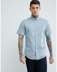 Farah - Steen Slim Fit Short Sleeve Textured Oxford Shirt In Grey - Lyst