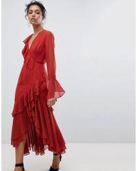 C/meo Collective Vestido cruzado con volante - Rojo