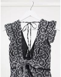 Bardot Черное Короткое Приталенное Платье С Кружевом И Оборками -черный