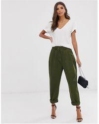 ASOS Ovoid Pleat Front Peg Trouser - Green
