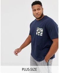 Jacamo T-shirt con tasca floreale a contrasto - Blu