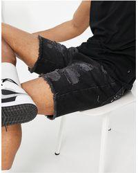 The Couture Club Bandana Patch Denim Shorts - Black