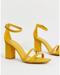 Deux À Mi Multicolore Sandales Moutarde En Haut Parties Talon 3L4j5AR