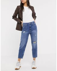 ONLY – Mom-Jeans im Used-Look - Blau