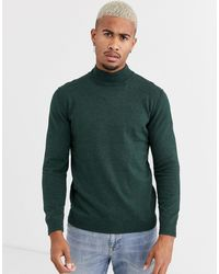 Only & Sons Knitted Jumper With High Neck - Green