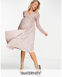 Maya Maternity Embellished Midi Wrap Dress - Pink