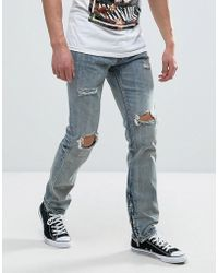 Reason - Jeans In Light Wash With Distressing - Lyst