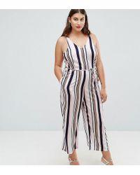 AX Paris - Stripe Culotte Jumpsuit - Lyst