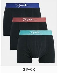TOPMAN 3 Pack Trunks With Coloured Waistband - Black