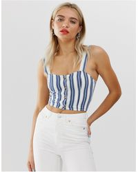 Monki Denim Crop Top Met Strepen, Combi-set - Blauw
