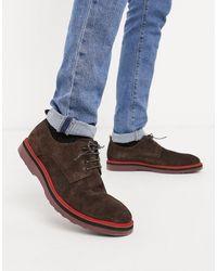Lambretta Chaussures en daim à lacets avec semelle chunky - Marron