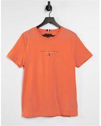 Tommy Hilfiger - Футболка Оранжевого Цвета С Логотипом-флажком На Груди Essential-розовый Цвет - Lyst