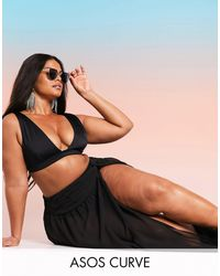 ASOS Asos Design Swim Glam Curve Twist Front Recycled Maxi Beach Sarong - Black