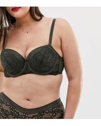 1eac1a7bf4e56 City Chic Aria Eyelash Lace Strappy Hardware Bralette in Black - Lyst